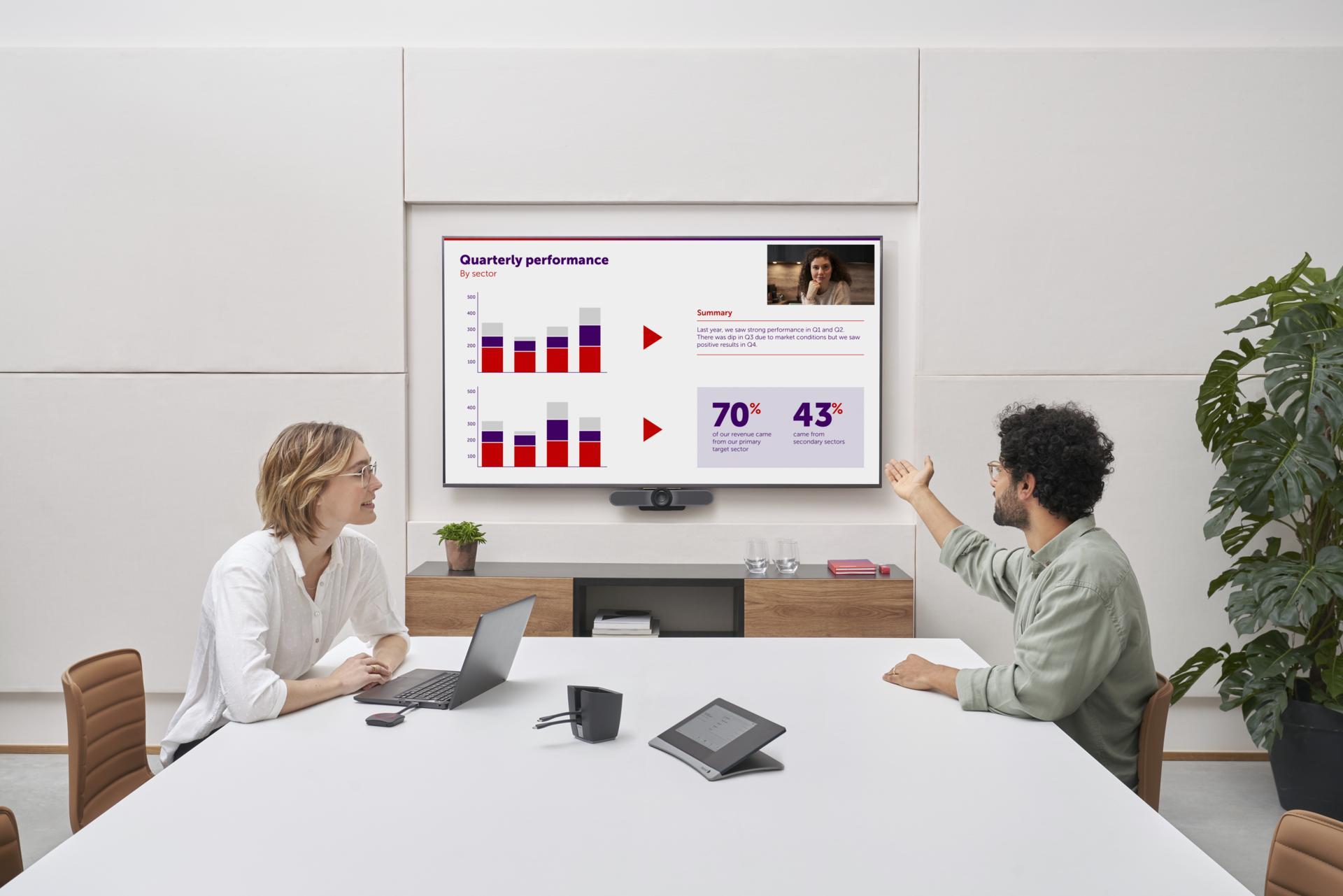 Team arbeitet mit Barco ClickShare Systemen im Konferenzzimmer